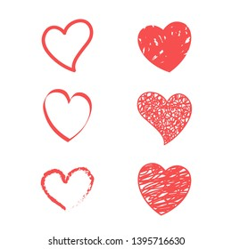 Red hearts. Vector icon of hearts. Vector on white background