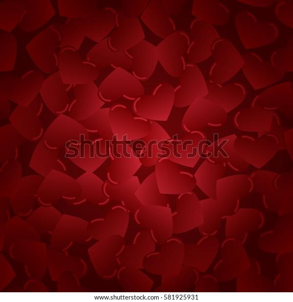 Red hearts. Vector pattern. Flat stock illustration