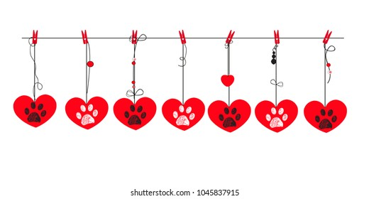 Red hearts with white and black paw prints. Happy Valentine's day greeting card