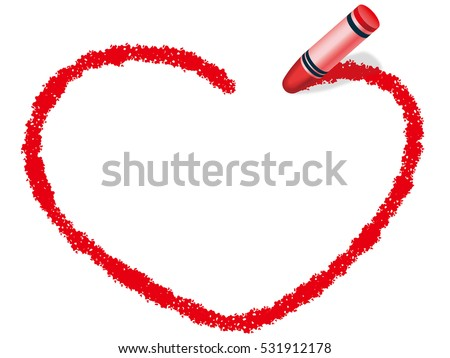 Red Heartshaped Frame Drew Red Crayon Stock Vector (Royalty Free ...