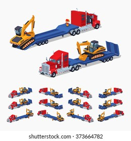 Red heavy truck with yellow excavator on the blue low-bed trailer. 3D lowpoly isometric vector illustration. The set of objects isolated against the white background and shown from different sides