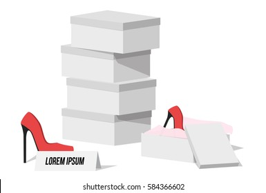 Red heels on Sale with clean boxes Vector Illustration