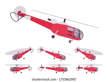 Red helicopter set, rotary wing aircraft vehicle. Machine hovering for aerial observation, people, cargo transportation, firefighting, tourism. Vector flat style cartoon illustration, different views