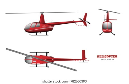 Red helicopter. Top, front and side view. 3d image of business vehicle.  Industrial isolated drawing. Copter in realistic style. Vector illustration