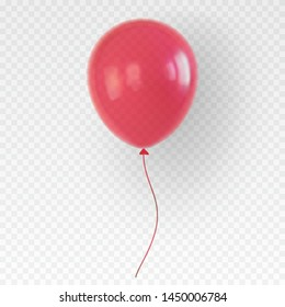 Red helium balloon. Birthday baloon with a shadow flying for party and celebrations. Isolated on plaid transparent like background. Vector illustration for your design and business.