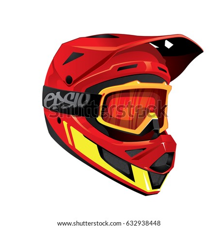 Red Helmet Full Face Downhill Mountain Stock Vector Royalty Free
