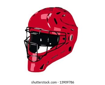 Red helmet on transparent background
