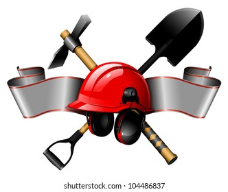 the red helmet with tools