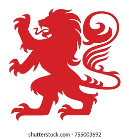 Red Heraldry Lion Logo Mascot Vector