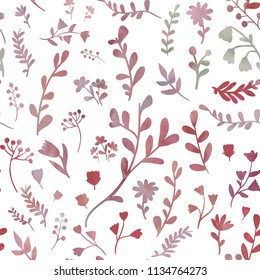 Red herbs. Floral seamless pattern tile. Watercolour imitation.