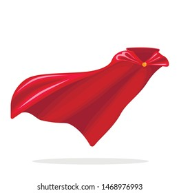 Red hero cape. Realistic fabric scarlet cloak or magic vampire cover. Vector set isolated on transparent background. Carnival clothes, decorative costume for superhero, vampire, cape for illusionist.