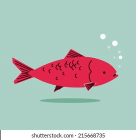 Red Herring concept in communication. Flat vector illustration