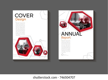 Red hexagon background modern cover design modern book cover abstract Brochure cover  template,annual report, magazine and flyer layout Vector a4