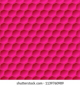 Red hexagons. Seamless pattern, abstract geometric background. Vector illustration