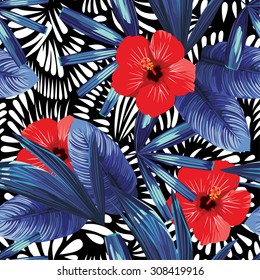 red hibiscus and blue palm leaves pattern, black and white seamless background
