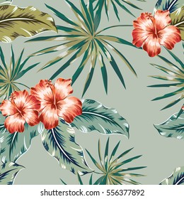 Red hibiscus flowers and palm leaves on khaki background. Tropical vector seamless pattern.