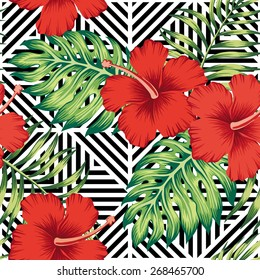 red hibiscus and  tropical  leaves pattern, geometric background
