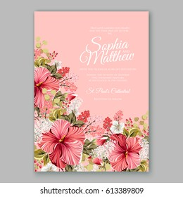 Red hibiscus wedding invitation card printable template with greenery eucaliptus