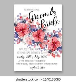 Red Hibiscus wedding invitation tropical floral card template Aloha Lauu anniversary invitation