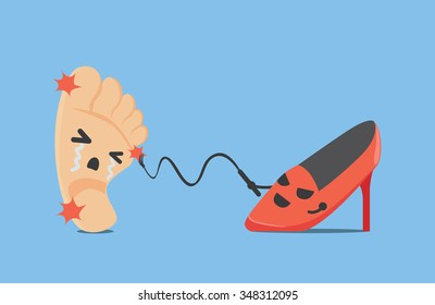 Red high heel shoes make foot be pain with whip