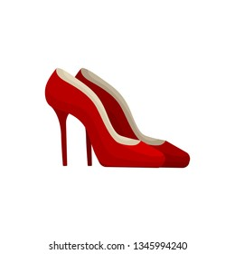 Red high heel shoes on white background.
