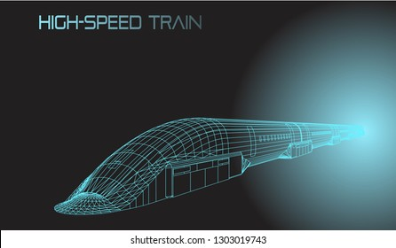 Red High Speed 3D Train Vector