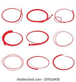 red highlight pen circle, hand draw circles set