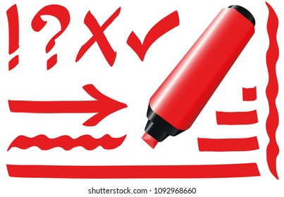 Red highlighter. Bright red marker pen plus strokes and signs like call sign, question mark, tick mark and arrow. Isolated vector illustration on white background.