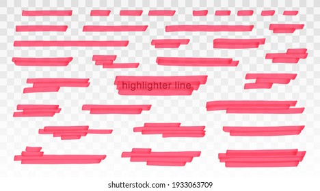 Red highlighter lines set isolated on transparent background. Marker pen highlight underline strokes. Vector hand drawn graphic stylish element
