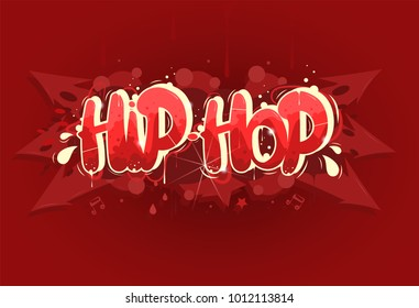 Red hip hop music illustration in graffiti style, lettering logo, vector.Typography for poster,t-shirt or stickers