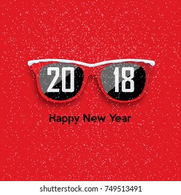 Red hipster glasses on a snowfall background. Happy New Year and Merry Christmas. Vector illustration.