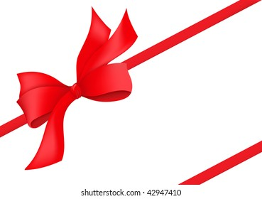 red holiday ribbon with bow. Vector illustration