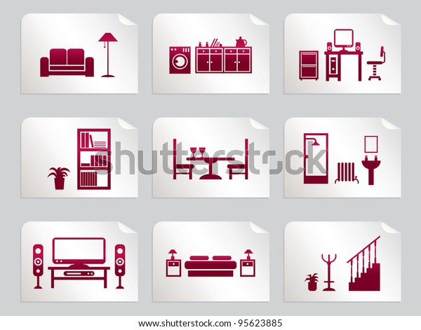 Red Home Interior Design Icons On Stock Vector Royalty Free