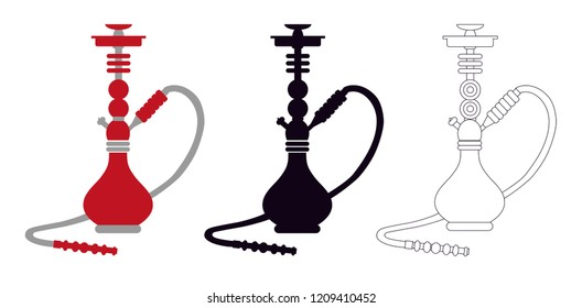 Red Hookah, Shisha, Nargile, Hubbly Bubbly with silhouette - Vector Illustration Isolated icon