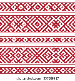 Red horizontal geometric Russian traditional ethnic seamless pattern