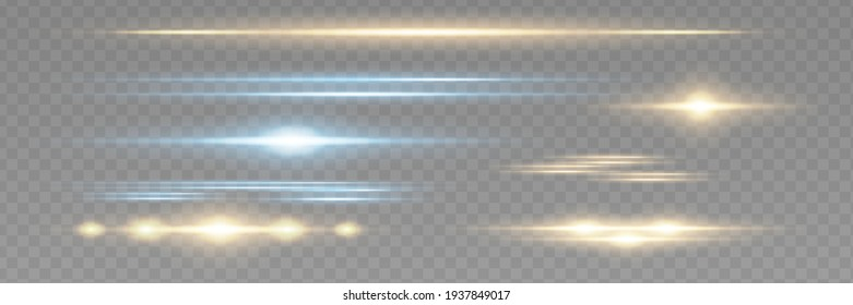 Red horizontal lens flares pack. Laser beams, horizontal light rays.Beautiful light flares. Glowing streaks on dark background. Luminous abstract sparkling lined background.