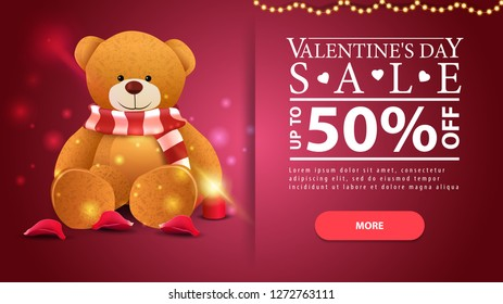 Red horizontal Valentine's Day discount banner with Teddy beer