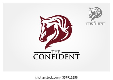 Red horse head for mascot or logo design. Vector illustration