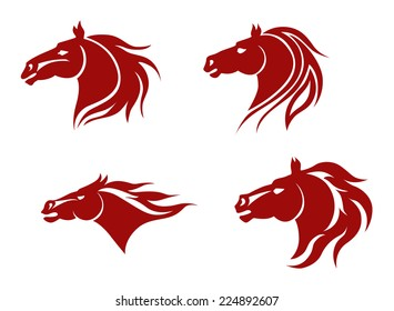 Red horse heads for mascot design. Vector illustration