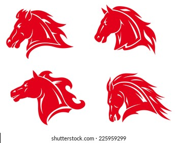 Red horse heads for mascot and tattoo design