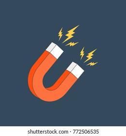 Red horseshoe magnet sign. Magnetism, magnetize, attraction concept. Flat design icon. Vector illustration on dark background
