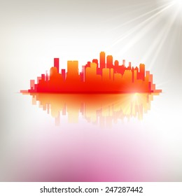 Red hot abstract city emblem. Abstract vector urban illustration. Modern touristic design elements.
