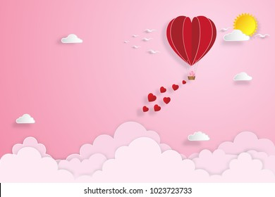 Red hot air heart balloon on pink sky and clouds as love, happy valentine's day, wedding and paper art concept. vector illustration.