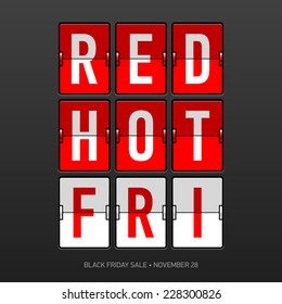 Red Hot Black Friday Sale flip panel. Vector.