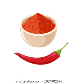 Red Hot Chili Pepper and Bowl with Powder. Vector illustration flat design