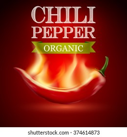 Red hot chili pepper with flame. on a red background. Vector illustration.