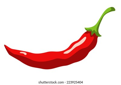 Red hot chili pepper isolated on a white background cartoon illustration