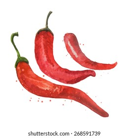 Red hot chili peppers, isolated on white. Watercolor painting.