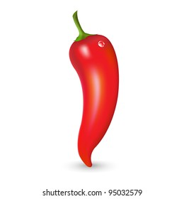 Red Hot Pepper With Drop, Vector Illustration