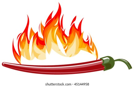 Red hot pepper with flames